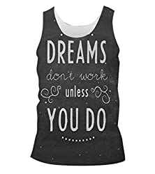 Snoogg Dreams Do Not Work Until You Do Mens Casual Beach Fitness Vests Tank Tops Sleeveless T shirts