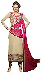 Go Traditional Women's Georgette Unstitched Dress Material (Beige)