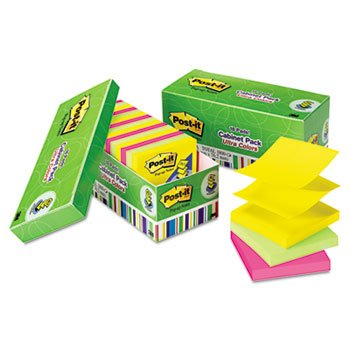 Ultra Pop-Up Note Refills, 3 X 3, Assorted Colors, 18 100-Sheet Pads/Pack front-1040456