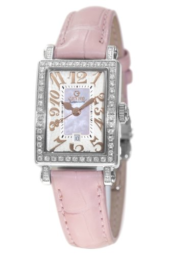 Gevril Women's 8248RL Super Mini Quartz Pink Mother of Pearl Diamond Watch