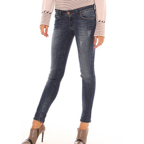 Jeans skinny in denim cotone stretch con usure