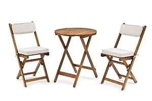 Belardo Minoa Wood 2 Seater Balcony Set, with Beige Seat Cushions