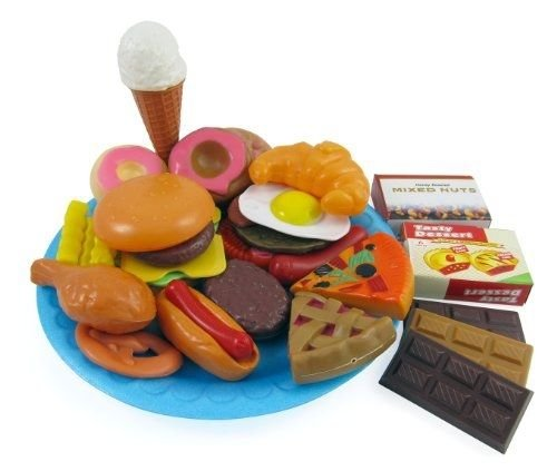 [30 pieces ^^^ Liberty Imports Fast Food & Dessert Play Food Cooking Set for Kids] (Liberty Bell Costumes)