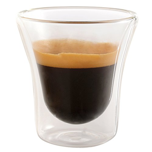 Set of 6 Double Walled Espresso Cups Insulated Coffee Mug Glass 2.7 oz - Unique By Jecobi (Glass Espresso Measuring Cup compare prices)
