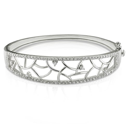 Sterling Silver 2 CT TGW Cubic Zirconia Bangle Bracelet