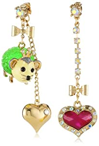 "Betsey Johnson ""A Day at the Zoo"" Possum and Heart Mismatch Drop Earrings"