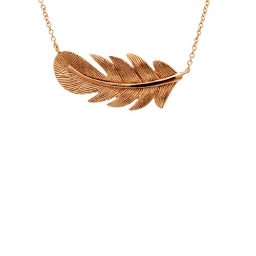 apop nyc 18k Rose Gold Vermeil Feather Pendant Necklace 16-17 inch