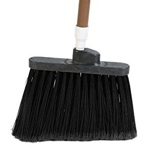 "Carlisle 3686703 Duo-Sweep Medium Duty Flagged Angle Broom Head, Polypropylene Bristle, 8"" Overall Length x 12"" Width, Black (Case of 12)"