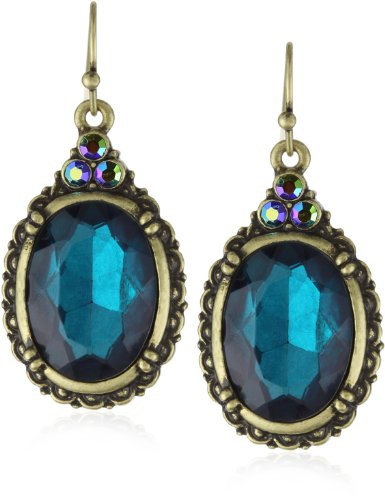 1928 Jewelry Victorian Peacock Turquoise Colored Gem Earrings
