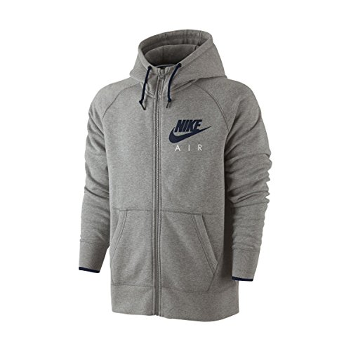 Nike AW77-Felpa con cappuccio in pile full zip Hoody, Uomo, AW77 Fleece Full Zip Hoody, Dunkelgrau Heidekraut/Obsidian, L