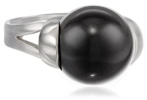 Sterling Silver 12mm Black Shell Pearl Ring, Size 5