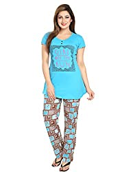 KuuKee Blue Cotton Nightsuit Sets (2676_SkyBlue_L)