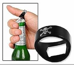Novelty Finger Ring Skull Style Bottle Crown Opener Black for Bartender Party