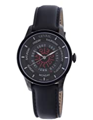 Gevril Men's 2001 Automatic Black PVD Stainless Steel Hand Made Leather Day Date Watch