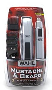 wahl trimmer mustache beard 12 pieces battery with nose trimmer 3 pack health. Black Bedroom Furniture Sets. Home Design Ideas