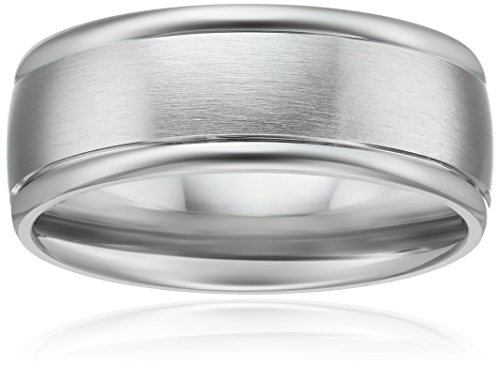 Men's Platinum Comfort Fit Plain Wedding Band with High Polished Round Edges and Satin Center Wedding Band, 8mm