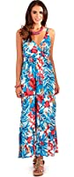 Vibrant Ladies 100% Cotton Tropical Strappy Maxi Beach Holiday Dress, Blue or Green