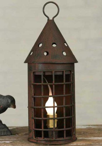 Grid Lantern Table Lamp Windowsill Candle In Green/Rust Metal