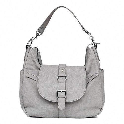 Kelly Moore B-Hobo Camera/Tablet Bag with Shoulder & Adjustable Messenger Strap (Grey) includes Removable Padded Basket - KELLY MOORE