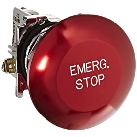 Eaton 10250T29 Emergency Stop Pushbutton Switch, 30.5mm Diameter, Momentary Operation, Red, SPST-NC Contacts