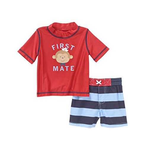 Child of Mine by Carter's Newborn Infant Boy Rash Guard Swim Set Red Monkey (9-12 Months)