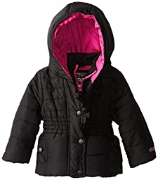 YMI Baby Girls\' Hooded Bubble Jacket with Ruffled Placket, Black, 18 Months