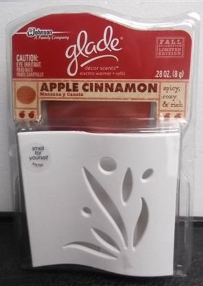 Glade Decor Scents, Electric Warmer + Refill, Apple Cinnamon (Pack Of 3)