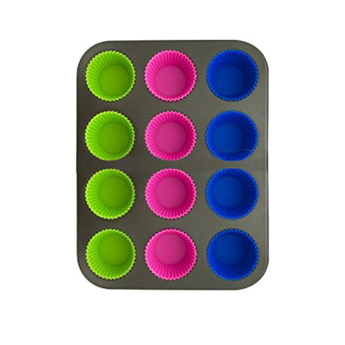Non-stick Muffin Tin & Cupcake Pan with 12 Removable Silicone Cups - Easiest Clean-up! - Metal Pan Is Stable for No Spilling! - Great Gift or Replacement Set