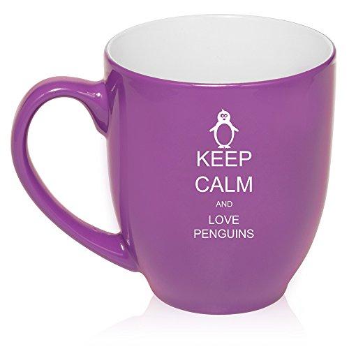 16 Oz Purple Large Bistro Mug Ceramic Coffee Tea Glass Cup Keep Calm And Love Penguins