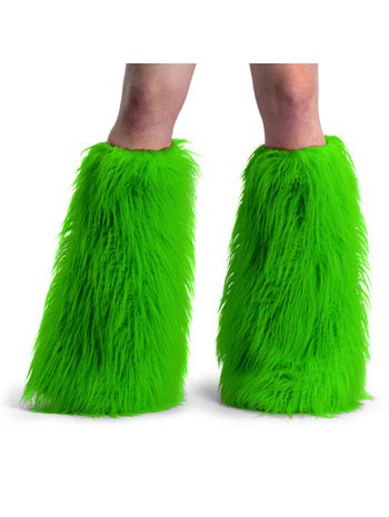 Green faux fur boot sleeve covers for gogo dancers one size