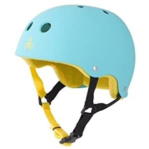 Triple Eight Brainsaver Rubber Teal Skate Helmet & Sweatsaver Liner by Triple Eight