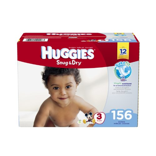 Huggies Snug and Dry Diapers, Size 3, 156 Count