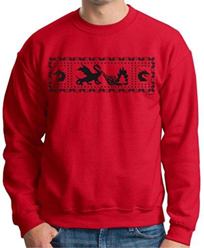 Dragons Funny Ugly Christmas Sweater Crewneck Sweatshirt Xx-Large Red
