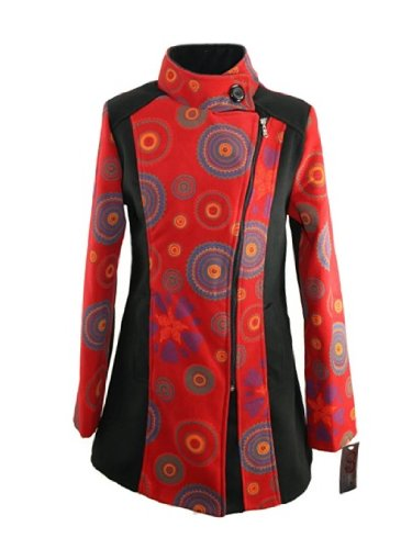 # 698 Damen Designer Patchwork Winter Mantel Trenchcoat Wintermantel 36 38 40 42 44 (S, Rot)