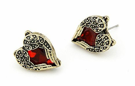 Jewellery Chic Boutique Vintage Antique Bronze Red Heart Gem Angel Wings Stud Earrings + Gift Bag