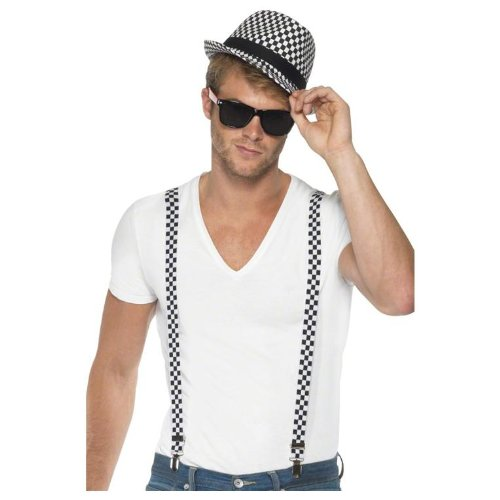 Ska Two Tone Costume Kit with Braces and Hat for Men - 1980's Costume
