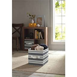 Durable, Stylish Better Homes and Gardens Collapsible Fabric Storage Cube, Set of 2, Multiple Colors, Grey Stripe