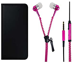 Novo Style Oppo Neo 5 Premium PU Leather Quality Black Flip Cover+ Zipper Earphones/Hands free With Mic 3.5mm jack