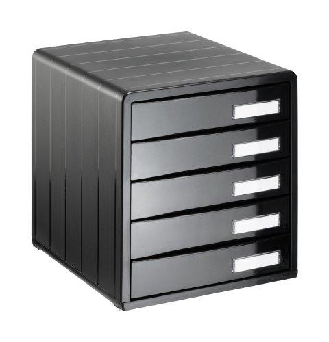 Rotho 1113208080 Schubladenbox Bürobox Timeless aus Kunststoff (PS), 5 geschlossene Schübe, A4-Format, mit Beschriftungsfeldern, hochwertige Qualität, ca. 34.5 x 29 x 32 cm, schwarz hochglanz