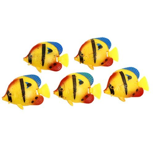 water-wood-aquarium-artifical-floating-wiggly-tail-fish-ornament-yellow-red-5-pcs