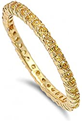 Zoe's Thin 14k Gold Imitation Diamond Eternity Ring