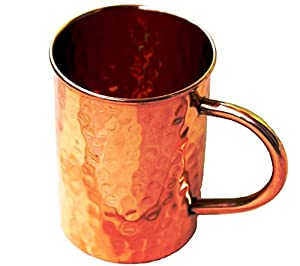 STREET CRAFT Hammered Copper Moscow Mule Mug Handmade of 100% Pure Copper, Drinkware Accessories Hammered Copper Moscow Mule Mug Capacity-16 Oz.