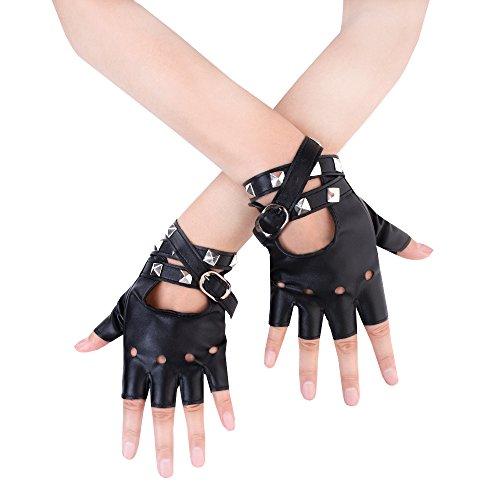 JISEN Sexy Women Punk rivets Belt Up Half Finger PU Leather Performance Gloves Black