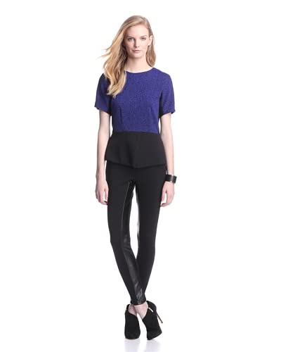 W118 by Walter Baker Women's Carla Peplum Top  [Black/Blue]