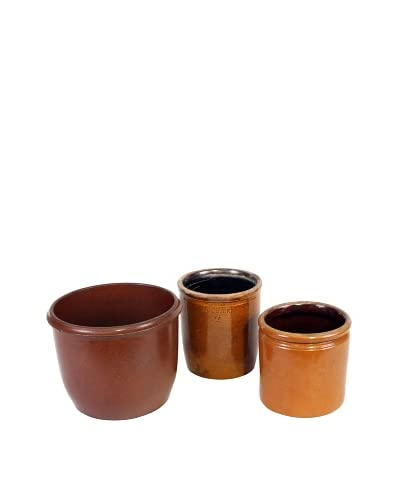 Set of 3 Danish Stoneware II, Brown/Gold