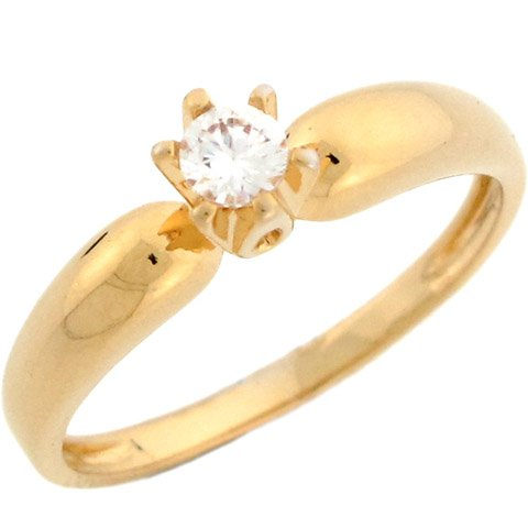 14k Yellow Gold Round CZ Traditional Solitaire Promise Ring