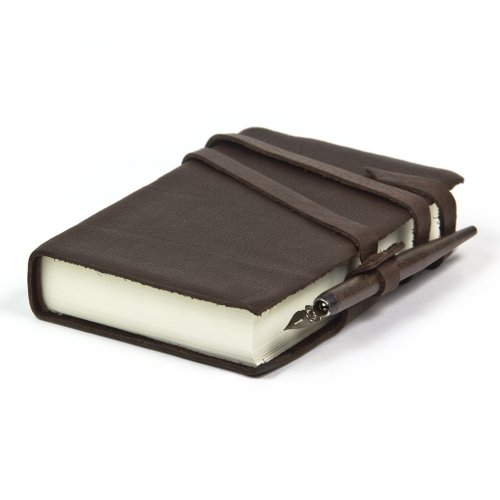 Exclusive Leather Journal Handcrafted In Italy, 4x6 inch (Dark Brown) (Leather Journal Made In Italy compare prices)