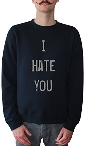 Mister Merchandise Men Sweatshirt Sweater I Hate You Felpa da Uomo, Taglia: L, Color: Navy