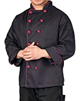 KNG Men's Executive Chef Coat with Contrast Piping and Buttons