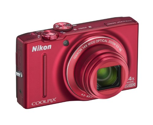 Nikon Coolpix S8200 Digitalkamera (16 Megapixel, 14-fach opt. Zoom, 7,5 cm (3 Zoll) Display, Full-HD-Video, bildstabilisiert) rot